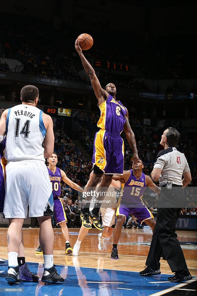Earl Clark #6 of the Los Angeles Lakers grabs the ball in mid-air against the Minnesota Timberwolves during the game on February 1, 2013 at Target Center in Minneapolis, Minnesota.