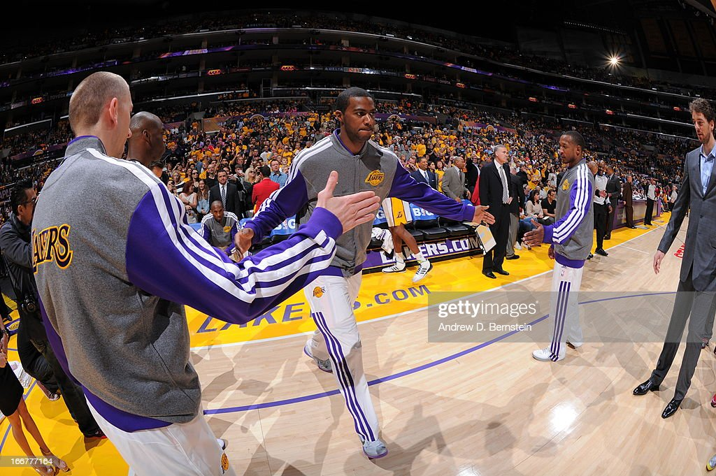 Earl Clark #6 of the Los Angeles Lakers is introduced before the game against the Chicago Bulls at Staples Center on March 10, 2013 in Los Angeles, California.