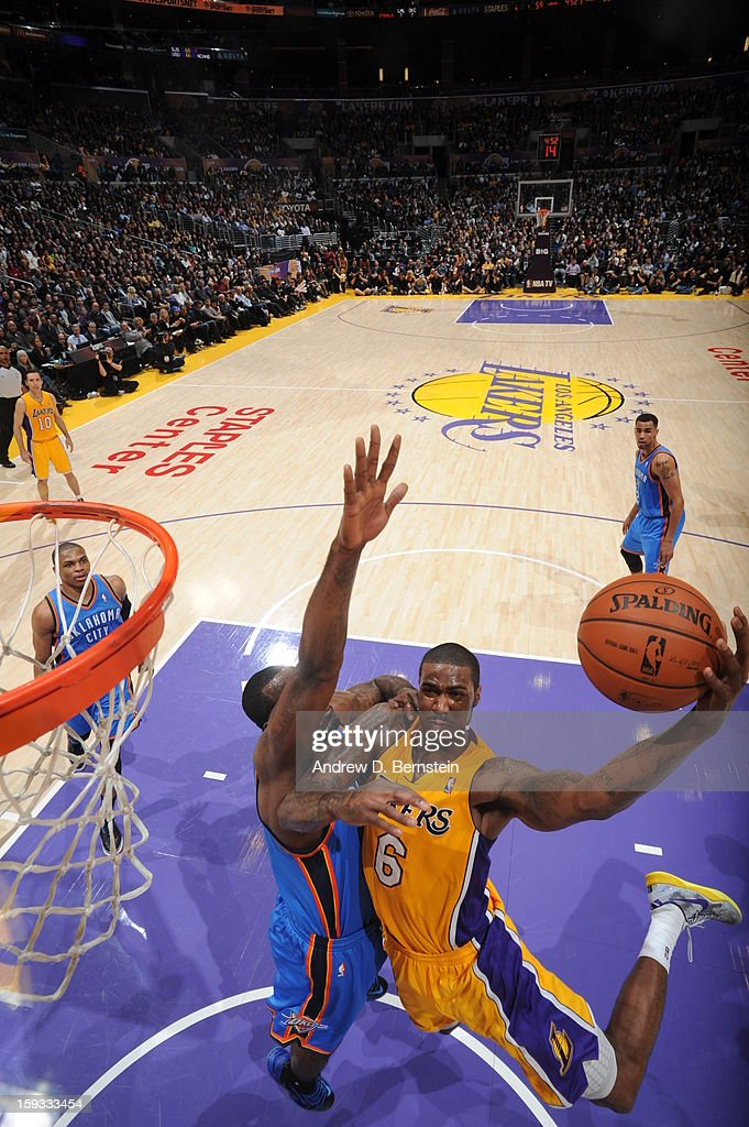 Earl Clark #6 of the Los Angeles Lakers shoots against at Staples Center on January 11, 2013 in Los Angeles, California.
