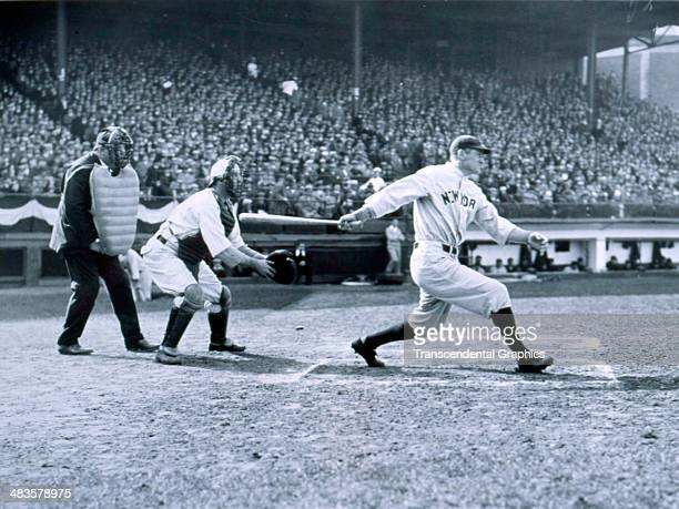 Earl Combs Hall of Fame outfielder for the Yankees takes a swing during a game on April 22 1931 at Fenway Park in Boston Massachusetts