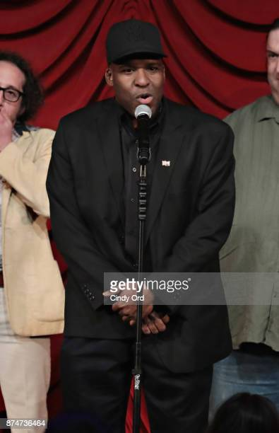 Earl Douglas takes part in SiriusXM host Ron Bennington's annual Thanksgiving Special at Hard Rock Cafe Times Square on November 14 2017 in New York...