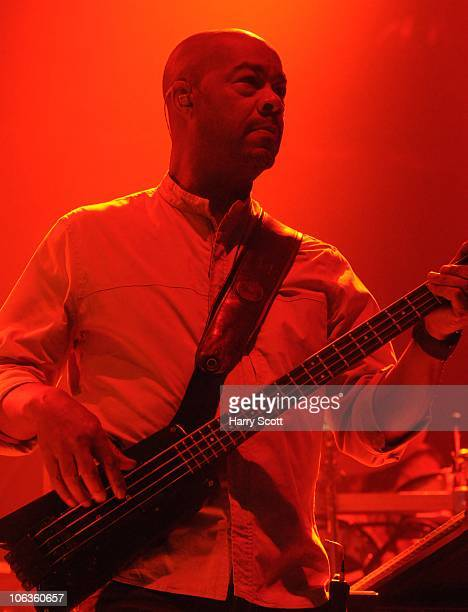 Earl Falconer of UB40 performs on stage at the Troxy on October 29 2010 in London England