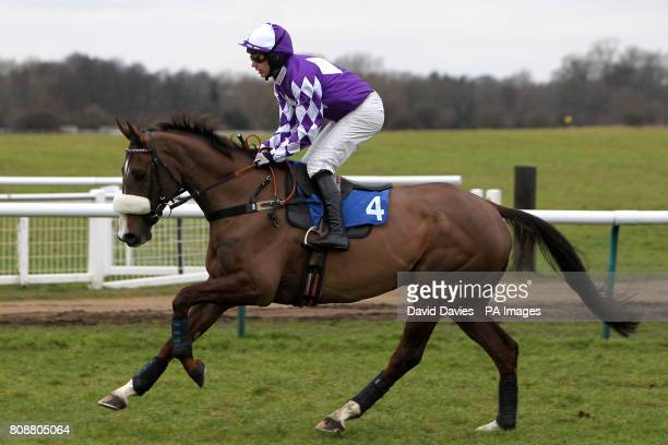 Earl Grez ridden by jockey Kyle James in action during The 100 Percent British Barley Handicap Steeple Chase
