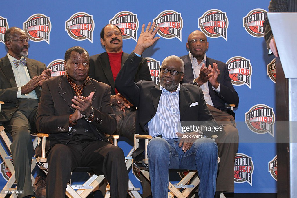<a gi-track='captionPersonalityLinkClicked' href=/galleries/search?phrase=Earl+Monroe&family=editorial&specificpeople=228507 ng-click='$event.stopPropagation()'>Earl Monroe</a> greets the media at the Hall of Fame press conference during of the 2013 NBA All-Star Weekend at the Hilton Americas Hotel on February 15, 2013 in Houston, Texas.