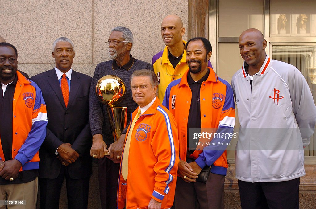 <a gi-track='captionPersonalityLinkClicked' href=/galleries/search?phrase=Earl+Monroe&family=editorial&specificpeople=228507 ng-click='$event.stopPropagation()'>Earl Monroe</a>, <a gi-track='captionPersonalityLinkClicked' href=/galleries/search?phrase=Julius+Erving&family=editorial&specificpeople=202966 ng-click='$event.stopPropagation()'>Julius Erving</a>, Bill Russel, <a gi-track='captionPersonalityLinkClicked' href=/galleries/search?phrase=Regis+Philbin&family=editorial&specificpeople=202495 ng-click='$event.stopPropagation()'>Regis Philbin</a>, <a gi-track='captionPersonalityLinkClicked' href=/galleries/search?phrase=Kareem+Abdul-Jabbar&family=editorial&specificpeople=206219 ng-click='$event.stopPropagation()'>Kareem Abdul-Jabbar</a>, Walt 'Clyde' Frazier and <a gi-track='captionPersonalityLinkClicked' href=/galleries/search?phrase=Clyde+Drexler&family=editorial&specificpeople=208989 ng-click='$event.stopPropagation()'>Clyde Drexler</a> with the 2005 Larry O'Brien NBA Championship Trophy