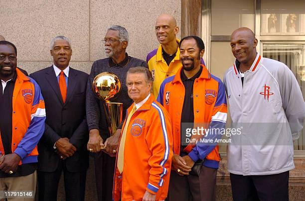 Earl Monroe Julius Erving Bill Russel Regis Philbin Kareem AbdulJabbar Walt 'Clyde' Frazier and Clyde Drexler with the 2005 Larry O'Brien NBA...