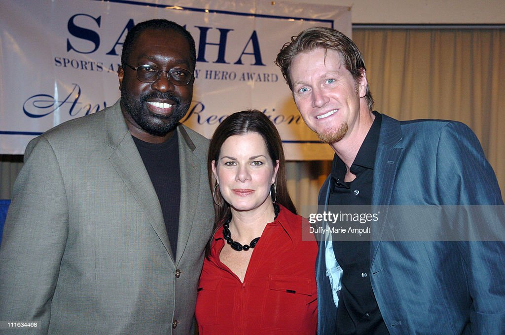 Earl Monroe Marcia Gay Harden and guest during Marcia Gay Harden Presents Annual Sports and Arts City Hero Award 2006 at JP Morgan Chase in New York...