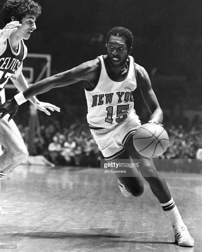 Earl Monroe of the New York Knicks drives to the basket during the 1980 NBA game against the Boston Celtics at Madison Square Garden in New York New...