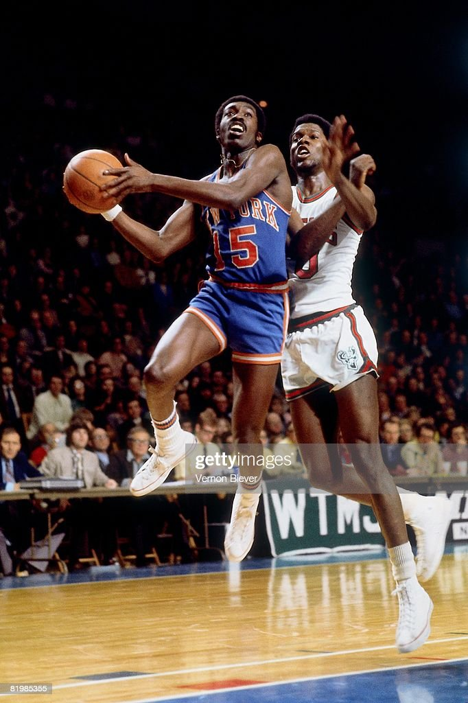 Earl Monroe of the New York Knicks goes up for a shot during a game against the Milwaukee Bucks in the 1970 season at the MECCA Arena in Milwaukee...