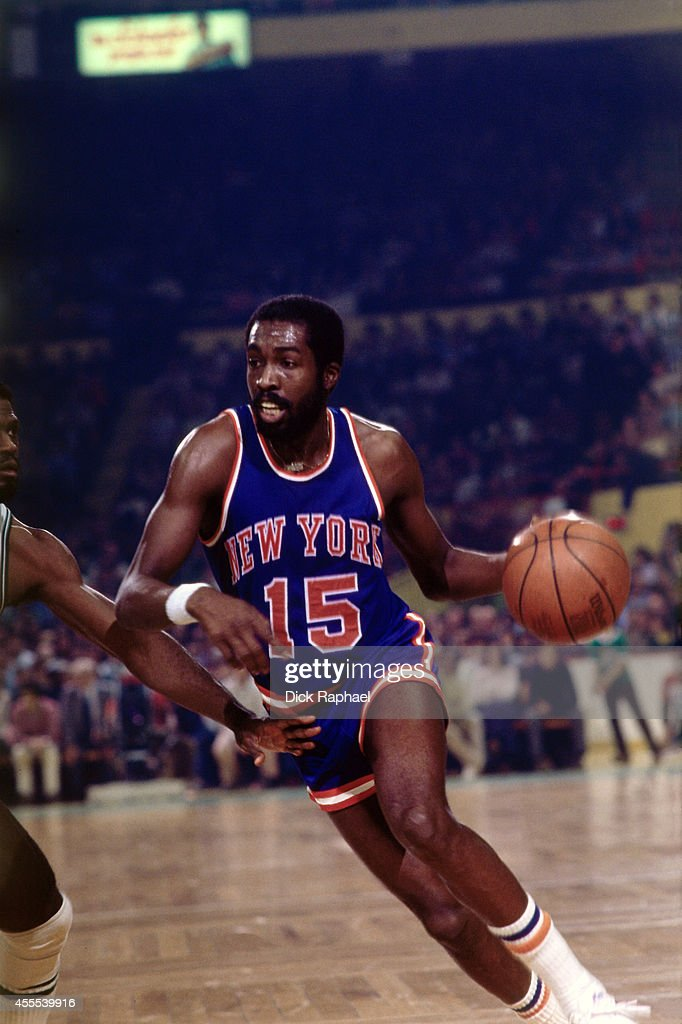 Earl Monroe of the New York Knicks shoots a free throw against the Boston Celtics during a game circa 1970 at the Boston Garden in Boston...