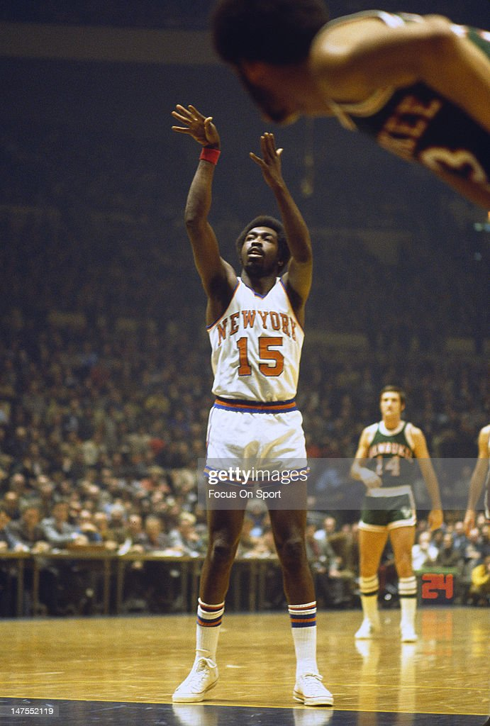 Earl Monroe of the New York Knicks shoots a freethrow against the Milwaukee Bucks during an NBA basketball game circa 1972 at Madison Square Garden...
