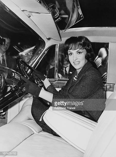 Earl S Court Motor Show Gina Lollobrigida Trying A Rolls Royce In London During Sixties