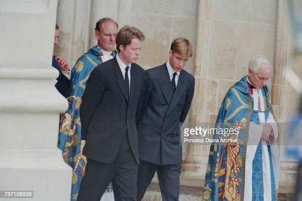 Earl Spencer and Prince William at Westminster Abbey for the funeral service for Diana Princess of Wales 6th September 1997