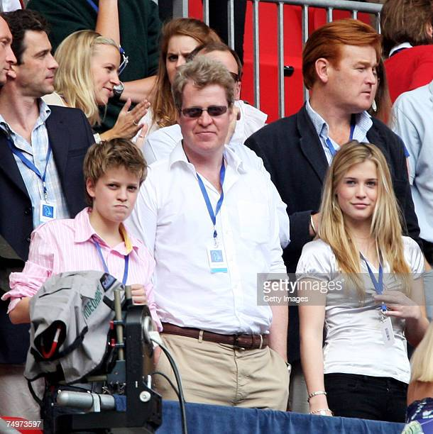 Earl Spencer brother of the late Princess Diana watches the Concert for Diana at Wembley Stadium on July 1 2007 in London England The Concert falls...
