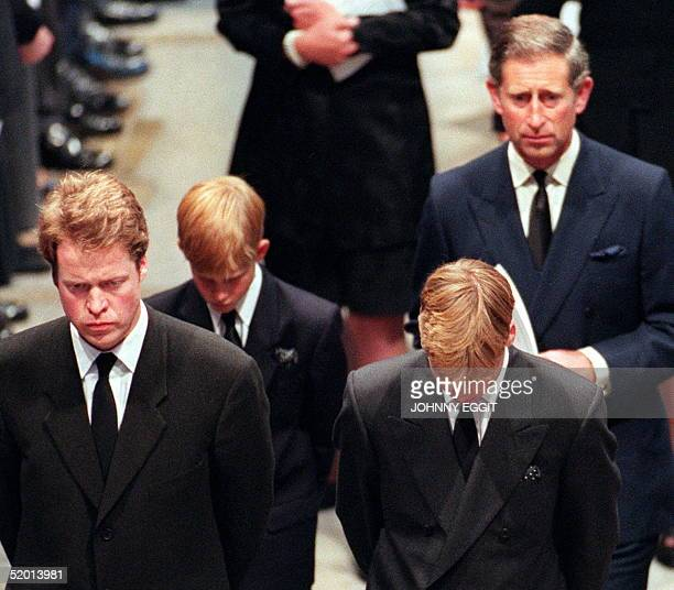 Earl Spencer Diana's brother her two sons Harry and William and her former husband Charles arrive into Westminster Abbey in London to attend the...