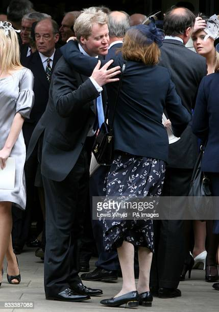 Earl Spencer greets a guest after the Service of Thanksgiving for the life of Diana Princess of Wales at the Guards' Chapel London PRESS ASSOCIATION...