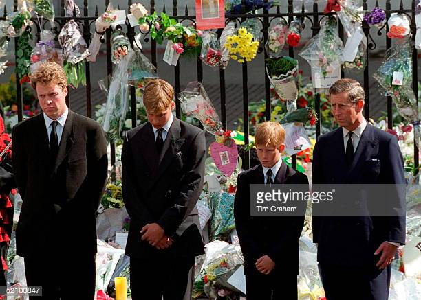 Earl Spencer Prince William Prince Harry And Prince Charles Watching The Coffin Of The Princess Of Wales Departing Westminster Abbey