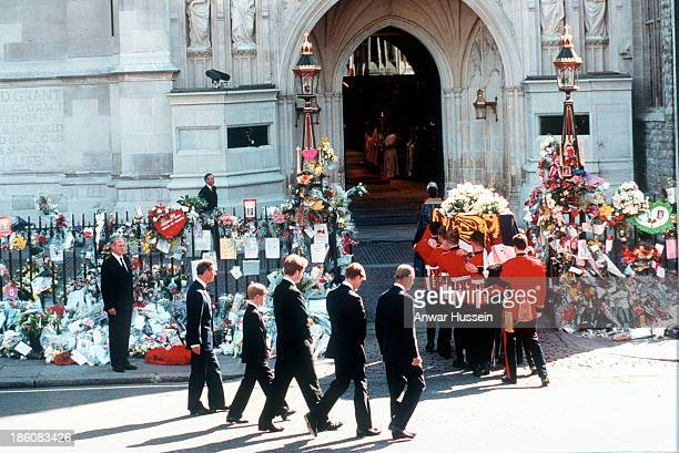 Earl Spencer Prince William Prince Harry Prince Charles and the Duke of Edinburgh follow the coffin to the funeral cortege of Diana Princess of Wales...