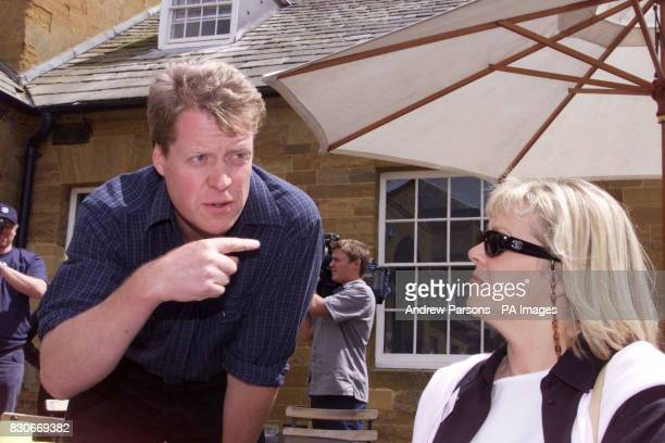 Earl Spencer talks to members of the public Jenny Warren from Nottingham in the court yard of the family Home Althorp near Northampton * The house is...