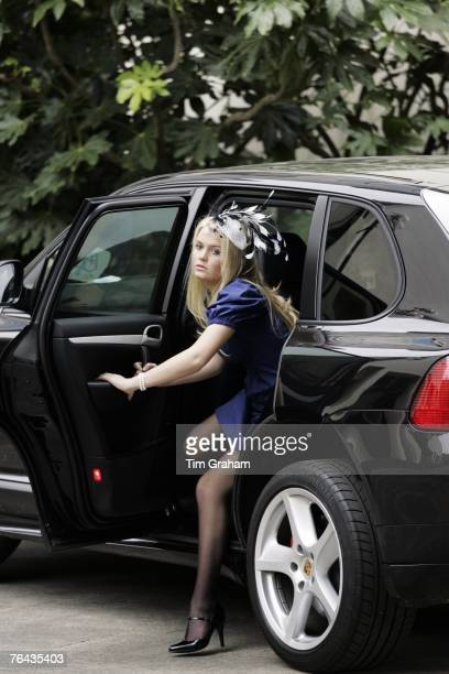 Earl Spencer's daughter Kitty Spencer arrives at the 10th Anniversary Memorial Service For Diana Princess of Wales at Guards Chapel at Wellington...