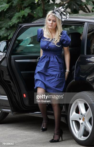 Earl Spencer's daughter Kitty Spencer gets out of his Porsche Cayenne car to attend the 10th Anniversary Memorial Service For Diana Princess of Wales...