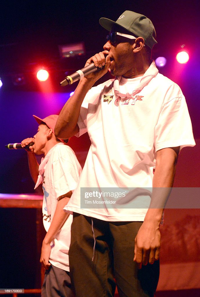 <a gi-track='captionPersonalityLinkClicked' href=/galleries/search?phrase=Earl+Sweatshirt&family=editorial&specificpeople=9601494 ng-click='$event.stopPropagation()'>Earl Sweatshirt</a> (L) and Tyler, The Creator of Tyler, The Creator & <a gi-track='captionPersonalityLinkClicked' href=/galleries/search?phrase=Earl+Sweatshirt&family=editorial&specificpeople=9601494 ng-click='$event.stopPropagation()'>Earl Sweatshirt</a> perform in support of Tyler's 'The Wolf' release at The Regency Ballroom on May 20, 2013 in San Francisco, California.