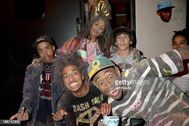 Earl Sweatshirt MIA Taco Bennett and Tyler The Creator pose backstage at the YouTube Music Awards 2013 on November 3 2013 in New York City