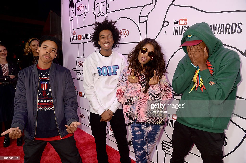 <a gi-track='captionPersonalityLinkClicked' href=/galleries/search?phrase=Earl+Sweatshirt&family=editorial&specificpeople=9601494 ng-click='$event.stopPropagation()'>Earl Sweatshirt</a>, <a gi-track='captionPersonalityLinkClicked' href=/galleries/search?phrase=Taco+Bennett&family=editorial&specificpeople=9332426 ng-click='$event.stopPropagation()'>Taco Bennett</a>, <a gi-track='captionPersonalityLinkClicked' href=/galleries/search?phrase=M.I.A.&family=editorial&specificpeople=2211092 ng-click='$event.stopPropagation()'>M.I.A.</a> and Tyler The Creator attend the YouTube Music Awards 2013 on November 3, 2013 in New York City.