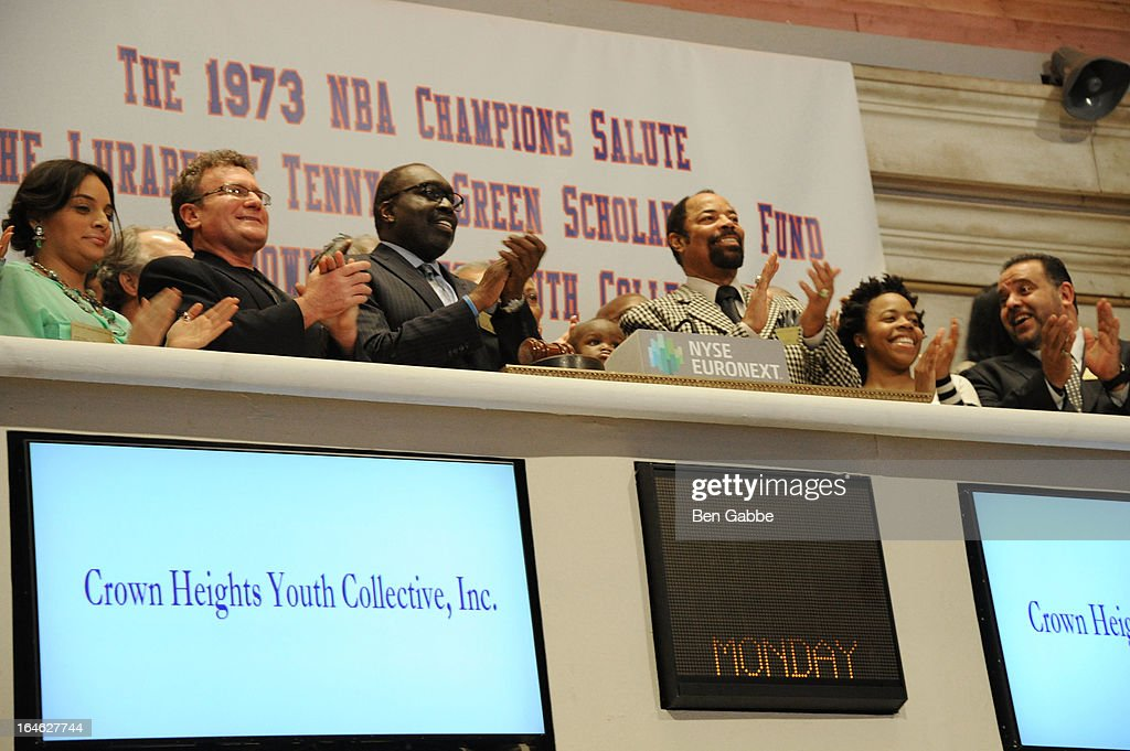 Earl 'The Pearl' Monroe and Walt 'Clyde' Frazier visit the New York Stock Exchange and Ring The Closing Bell to Highlight the Crown Heights Youth Collective on March 25, 2013 in New York City.