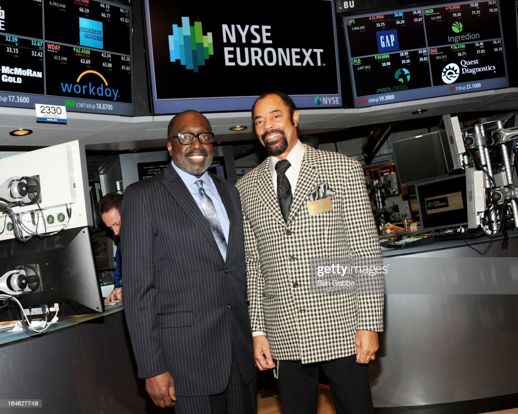 Earl 'The Pearl' Monroe and Walt 'Clyde' Frazier visit the New York Stock Exchange and Ring The Closing Bell to Highlight the Crown Heights Youth...