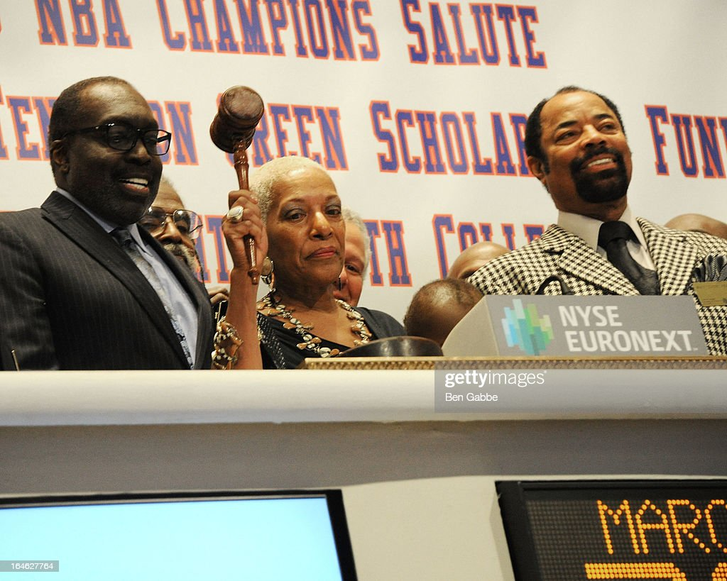 Earl 'The Pearl' Monroe, Marita Monroe and Walt 'Clyde' Frazier visit the New York Stock Exchange and Ring The Closing Bell to Highlight the Crown Heights Youth Collective on March 25, 2013 in New York City.