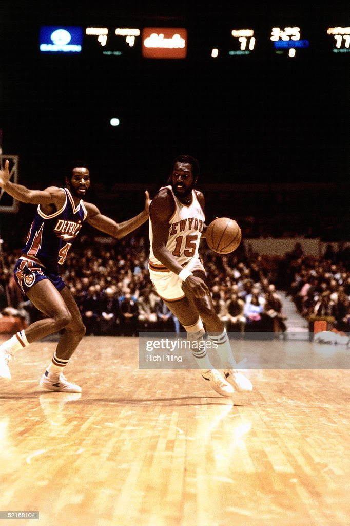 Earl 'The Pearl' Monroe of the New York Knicks drives to the basket against the Detroit Pistons during an NBA game in 1980 at Madison Square Garden...