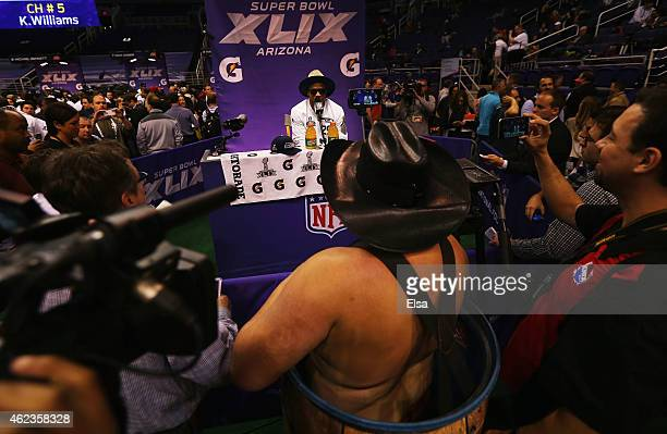 Earl Thomas of the Seattle Seahawks addresses the media at Super Bowl XLIX Media Day Fueled by Gatorade inside US Airways Center on January 27 2015...