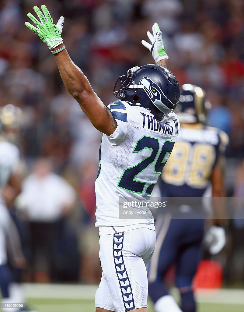 Earl Thomas #29 of the Seattle Seahawks celebrates after the 14-9 victory over the the St. Louis Rams at Edward Jones Dome on October 28, 2013 in St Louis, Missouri.