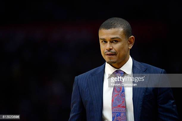 Earl Watson head coach for the Phoenix Suns during the first half against the Los Angeles Clippers at Staples Center February 22 in Los Angeles...
