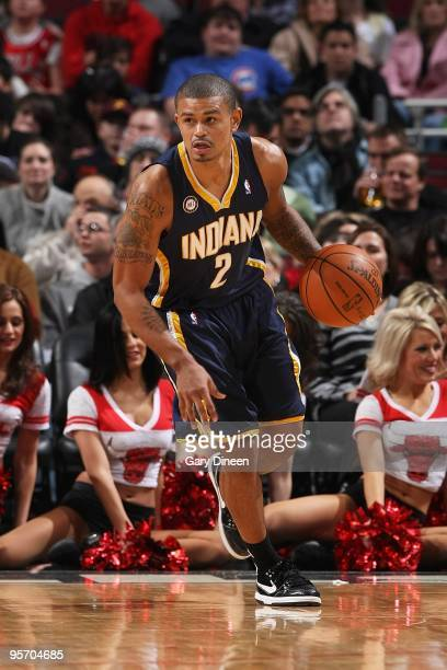 Earl Watson of the Indiana Pacers brings the ball upcourt against the Chicago Bulls during the game on December 29 2009 at the United Center in...