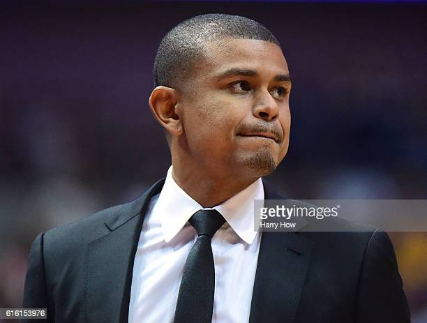 Earl Watson of the Phoenix Suns watches play during a 9894 preseason win over the Los Angeles Lakers at Honda Center on October 21 2016 in Anaheim...