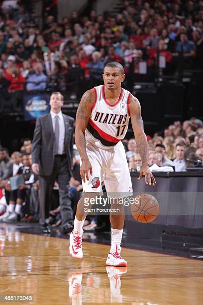 Earl Watson of the Portland Trail Blazers dribbles the ball during the game against the Los Angeles Clippers on April 16 2014 at the Moda Center...