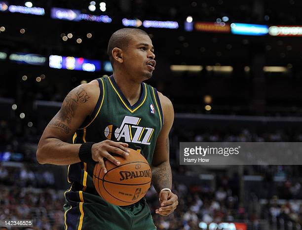 Earl Watson of the Utah Jazz looks to pass against the Los Angeles Clippers at Staples Center on March 31 2012 in Los Angeles California NOTE TO USER...