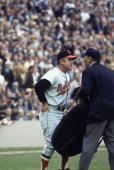 Earl Weaver manager for the Orioles argues with the umpire during the World Series against the New York Mets at Shea Stadium on October 1969 in...