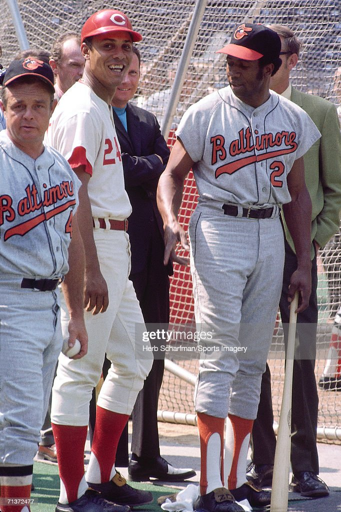 <a gi-track='captionPersonalityLinkClicked' href=/galleries/search?phrase=Earl+Weaver&family=editorial&specificpeople=213180 ng-click='$event.stopPropagation()'>Earl Weaver</a> #4 of the Baltimore Orioles, Tony Perez #24 of the Cincinnati Reds and <a gi-track='captionPersonalityLinkClicked' href=/galleries/search?phrase=Frank+Robinson&family=editorial&specificpeople=167022 ng-click='$event.stopPropagation()'>Frank Robinson</a> #2 of the Baltimore Orioles during batting practice prior to the 1970 All-Star Game at Riverfront Stadium on July 14, 1970 in Cincinnati, Ohio. The American League defeated the National League 12-10.