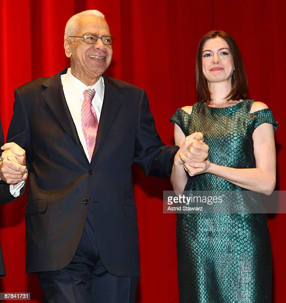 Earle Hyman and Anne Hathaway attend the 54th Annual Village Voice Obie Awards at Webster Hall on May 18 2009 in New York City