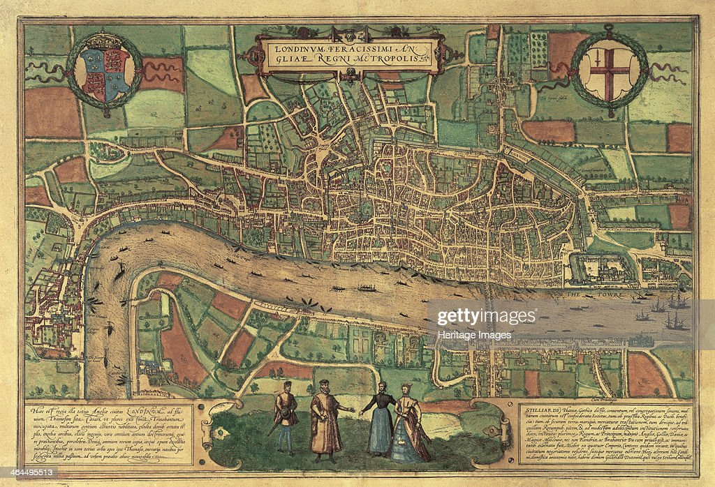 Earliest printed map of London 1574 The palace at Westminster can be seen on the left and the Tower of London on the right with ships on the Thames...