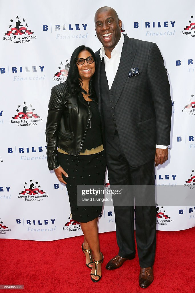Earlitha Kelly and Magic Johnson arrive at the 7th Annual Big Fighters, Big Cause Charity Boxing Night Benefiting The Sugar Ray Leonard Foundation at The Ray Dolby Ballroom at Hollywood & Highland Center on May 25, 2016 in Hollywood, California.
