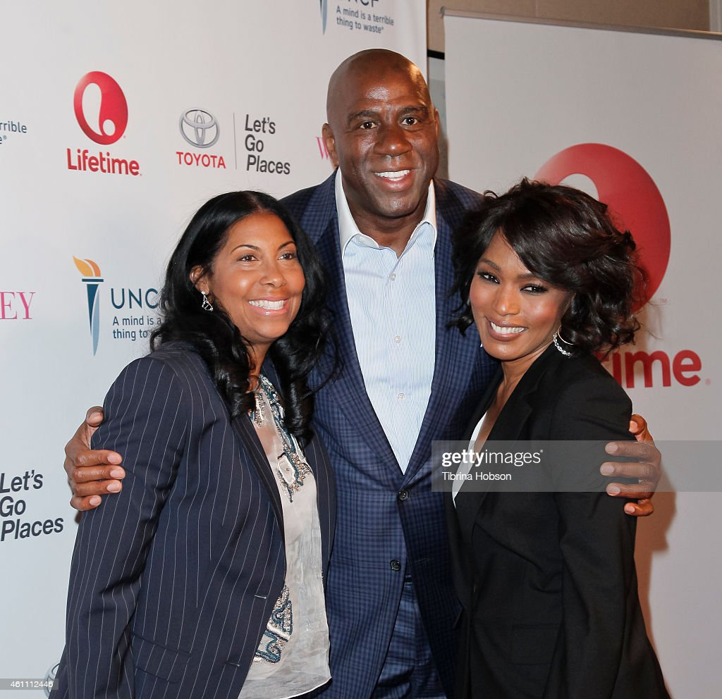 Earlitha Kelly, Magic Johnson and Angela Bassett attend the world premiere of Lifetime's 'Whitney' at The Paley Center for Media on January 6, 2015 in Beverly Hills, California.