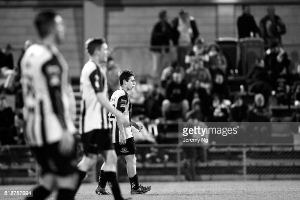 Earlwood Wanderers look on as they prepare to kick off during the 2017 Johnny Warren Challenge match between Sydney FC and Earlwood Wanderers at...