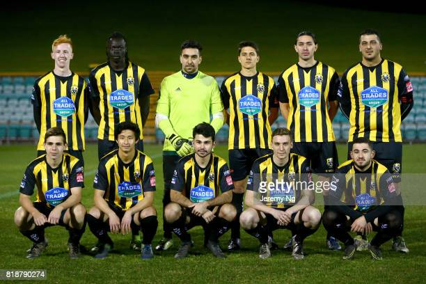 Earlwood Wanderers pose prior to the 2017 Johnny Warren Challenge match between Sydney FC and Earlwood Wanderers at Leichhardt Oval on July 19 2017...