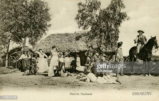 Early 20th century postcard of rural area of Uruguay A woman performs the south American folk dance Percion