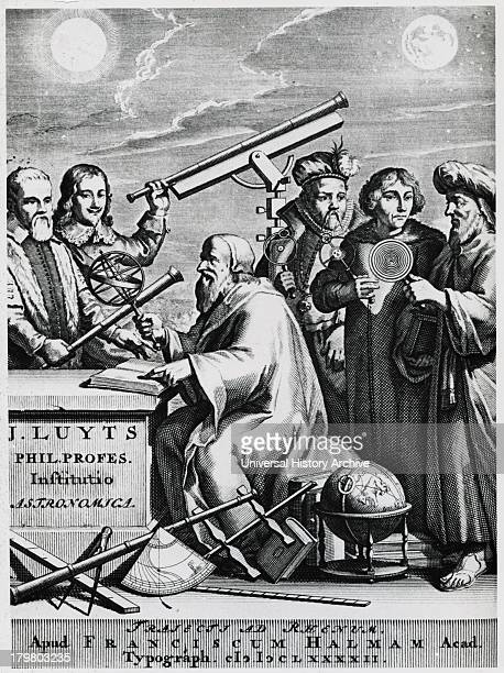 Early astronomers left to right Galileo Hevelius Aristotle Brahe Copernicus and Ptolemy Engraving 1692