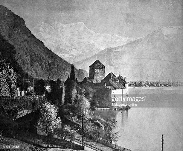 Early autotype of chateau de chillon or chillon castle canton vaud switzerland historical photograph 1884